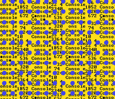 Unicode Blue Dots on yellow fabric by susiprint on Spoonflower - custom fabric