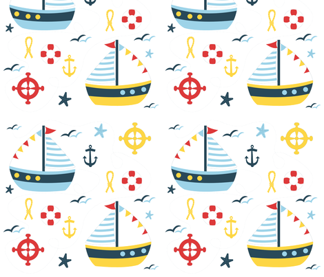 sailing bleu fabric by melissajimena on Spoonflower - custom fabric