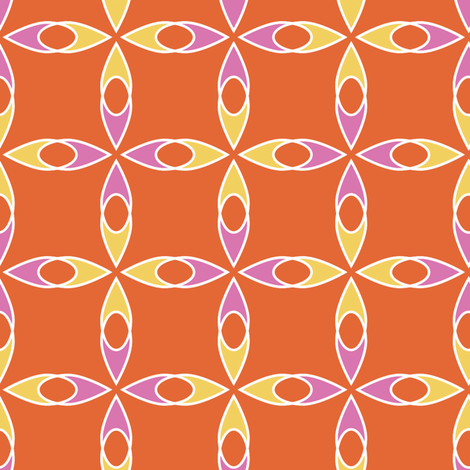 Interlocking Flowers PinkOrange fabric by jillbyers on Spoonflower - custom fabric