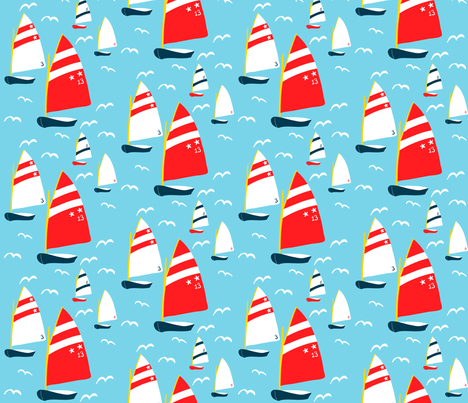 4 Sailboats fabric by pattyryboltdesigns on Spoonflower - custom fabric