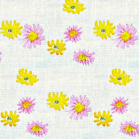 Lovely Linens (Yellow, Pink & White) fabric by vanillabeandesigns on Spoonflower - custom fabric