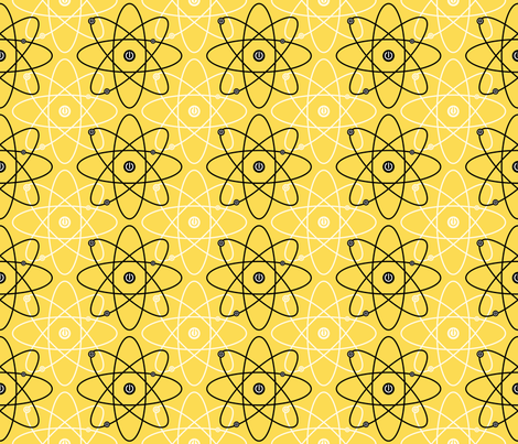 Atom-ized ~ Yellow fabric by retrorudolphs on Spoonflower - custom fabric