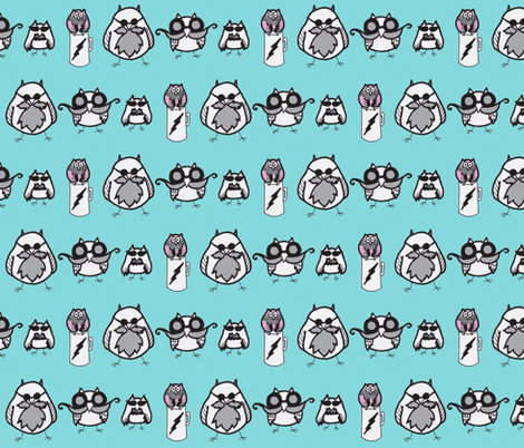 Manly Owls fabric by kbexquisites on Spoonflower - custom fabric
