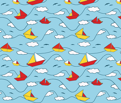 Origami sailing boats fabric by fantazya on Spoonflower - custom fabric