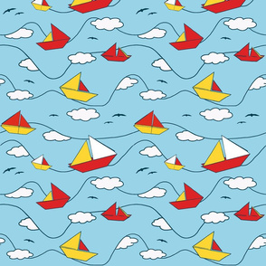 Origami sailing boats