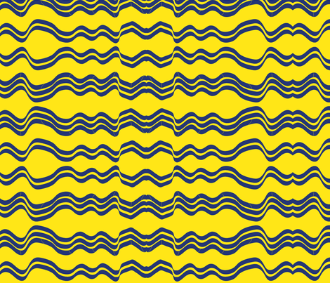 Wavy Stripes (Yellow and Navy Blue) fabric by vanillabeandesigns on Spoonflower - custom fabric