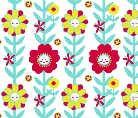 Happy Mod Flowers fabric by aimee on Spoonflower - custom fabric
