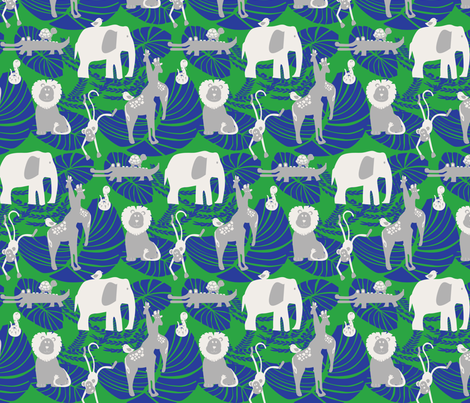 Jungle Fever Blue fabric by leeandallandesign on Spoonflower - custom fabric