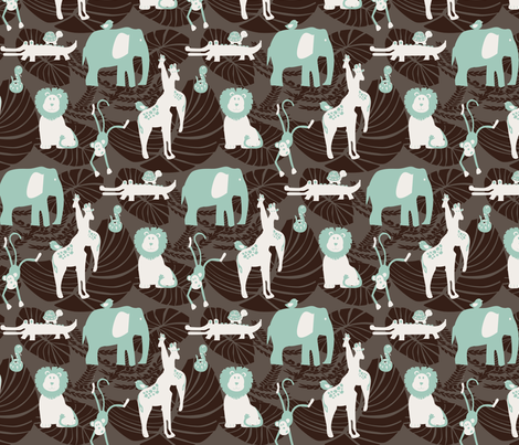 Jungle Fever Mint fabric by leeandallandesign on Spoonflower - custom fabric