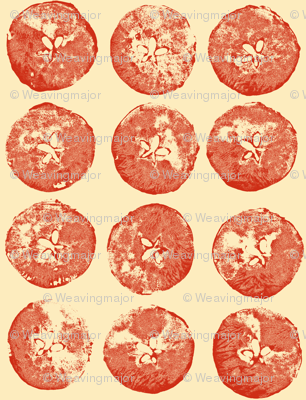apple prints in red on cream