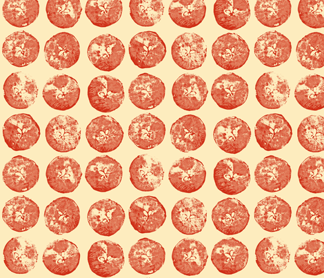 apple prints in red on cream fabric by weavingmajor on Spoonflower - custom fabric