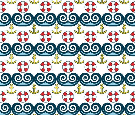 Sailing, Sailing, On the Ocean Blue fabric by pixeldust on Spoonflower - custom fabric