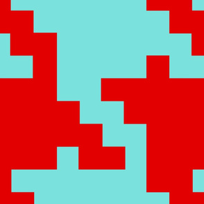 Houndstooth GIANT red and turquoise