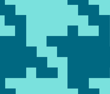 Houndstooth GIANT teal and turquoise fabric by thirdhalfstudios on Spoonflower - custom fabric