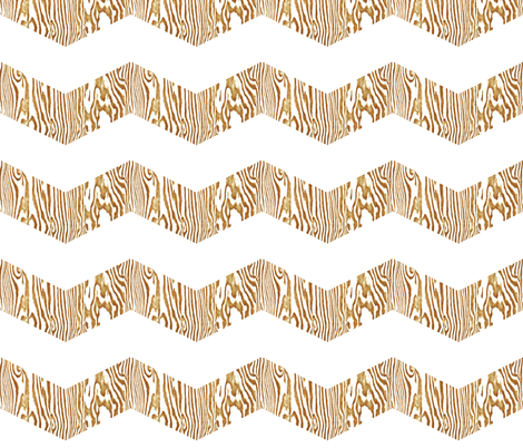 Chevron Safari ~ Gold & White  Zebra Wood fabric by peacoquettedesigns on Spoonflower - custom fabric