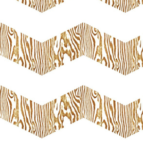 Chevron Safari ~ Gold &amp; White  Zebra Wood