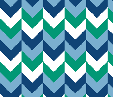 Chevron Offset - Ocean fabric by shelleymade on Spoonflower - custom fabric