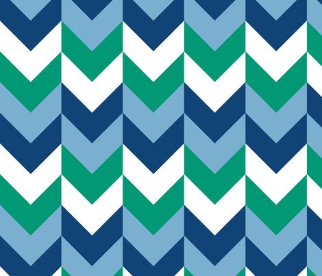Chevron Offset - Ocean fabric by shelleymade on Spoonflower - custom fabric