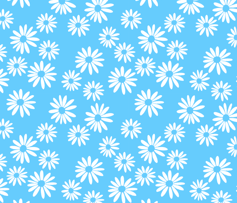 White Daisies on Blue fabric by de-ann_black on Spoonflower - custom fabric