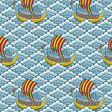 Viking Ships fabric by gail_mcneillie on Spoonflower - custom fabric