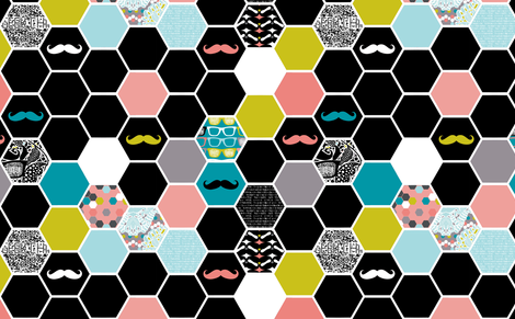 Geek hexies fabric by katarina on Spoonflower - custom fabric