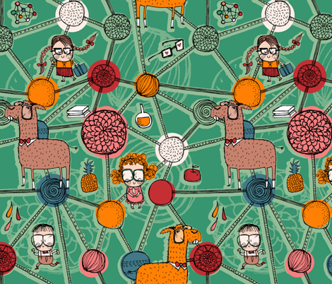 Professor Llama's laboratory fabric by laura_the_drawer on Spoonflower - custom fabric