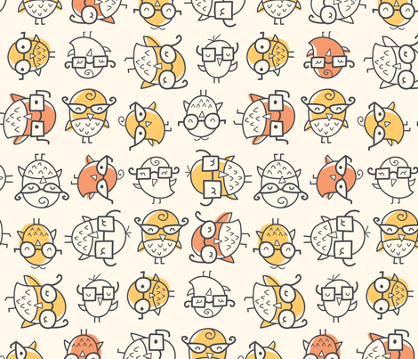Scattered Nerd Bird fabric by auki on Spoonflower - custom fabric