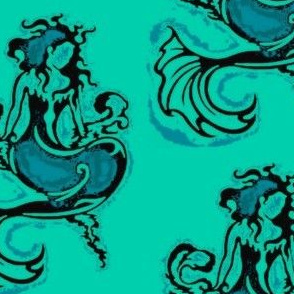 Sitting Pretty Mermaid6-teals/black-Orton