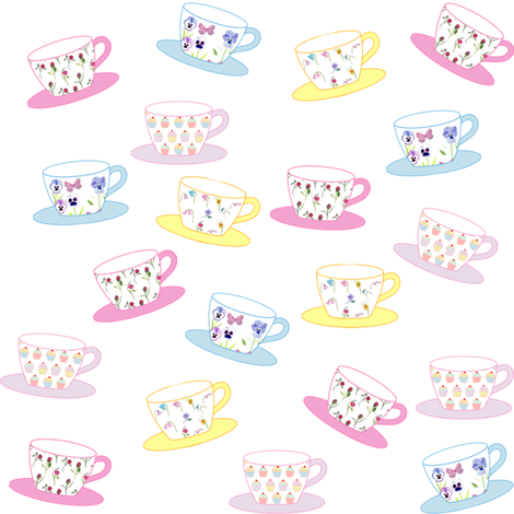 Little Teacups fabric by de-ann_black on Spoonflower - custom fabric