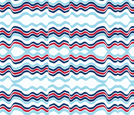 Bumpy Waters (Red and two Blues) fabric by vanillabeandesigns on Spoonflower - custom fabric