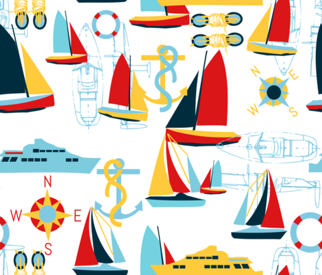 Sail Away With Me! fabric by tigerfeetandtwig on Spoonflower - custom fabric
