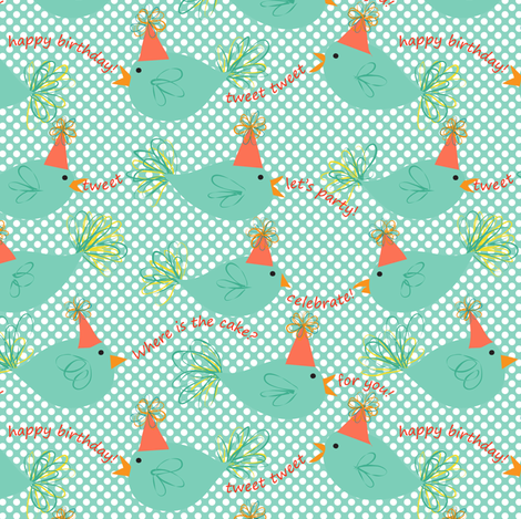 Tweet Is Your Birthday fabric by vo_aka_virginiao on Spoonflower - custom fabric