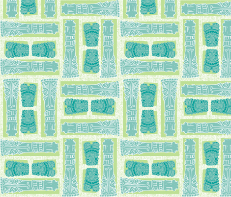 Mid-Century Tiki Gods fabric by aimee on Spoonflower - custom fabric