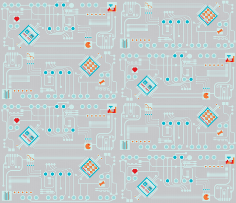Geek Circuits fabric by katie_lou_creations on Spoonflower - custom fabric