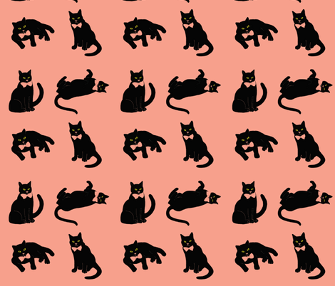Pussycat Summer Coral fabric by magentarosedesigns on Spoonflower - custom fabric