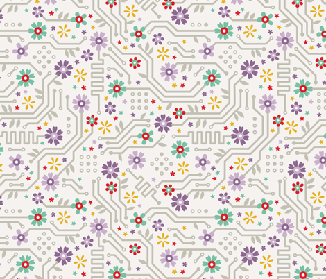Flower Circuit fabric by anitakingsley on Spoonflower - custom fabric