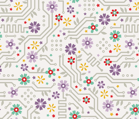 Flower Circuit fabric by candytree on Spoonflower - custom fabric