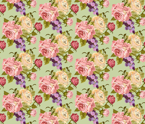 Half_Drop_Rose_Pink_Newest_Green fabric by ©_lana_gordon_rast_ on Spoonflower - custom fabric