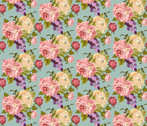 Vintage Rose Jade fabric by lana_gordon_rast_ on Spoonflower - custom fabric