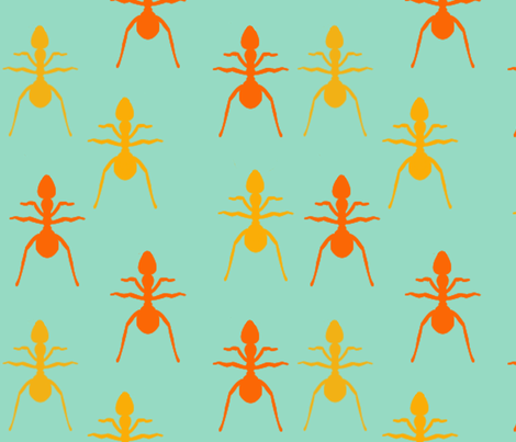 Ants on blue fabric by natalulu_too on Spoonflower - custom fabric