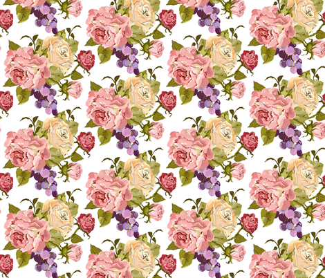 Half_Drop_Rose_Pink_Newest_White fabric by ©_lana_gordon_rast_ on Spoonflower - custom fabric