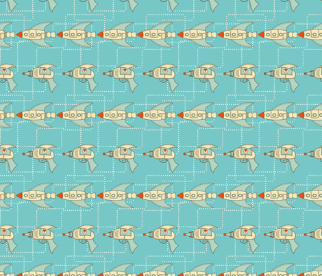 Retro Spaceships and Ray Guns fabric by diane555 on Spoonflower - custom fabric
