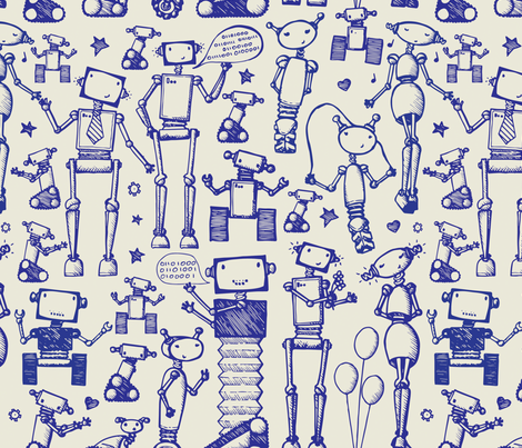 Robot Rock fabric by fourthirteen on Spoonflower - custom fabric
