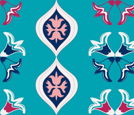 michelle's mid century cocktail aqua fabric by fabricfarmer_by_jill_bull on Spoonflower - custom fabric