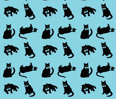 Pussycat  Blue fabric by magentarosedesigns on Spoonflower - custom fabric