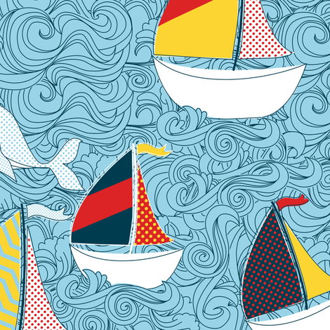 Whales and Sails fabric by meg56003 on Spoonflower - custom fabric