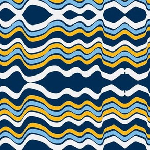 Bumpy Waters (Navy, White & Yellow)