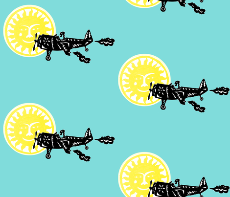 Day of the Dead Plane Flies in front of the Sun fabric by boris_thumbkin on Spoonflower - custom fabric