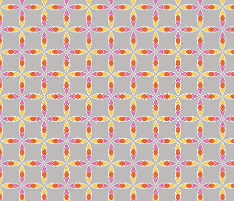 Interlocking Flowers grey fabric by jillbyers on Spoonflower - custom fabric