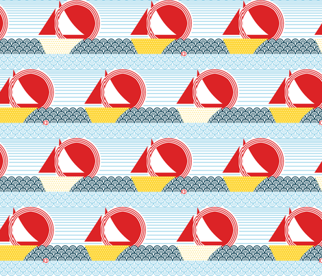 Sailing into the Sunset fabric by ttoz on Spoonflower - custom fabric